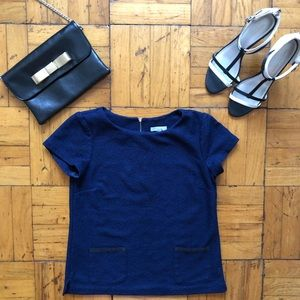 NY&Co | Navy Blue Eyelet Embroidered Career Top